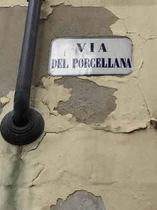 The street sign for Via del Porcellana, photo by Mark Evans, 2016. © Victoria and Albert Museum, London